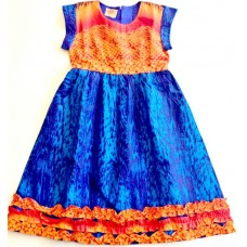 African Girl Dress Blue Orange Size 4T