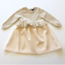 Andy and Evan Cream Sweater Dress with Quilted Skirt (2T-6)