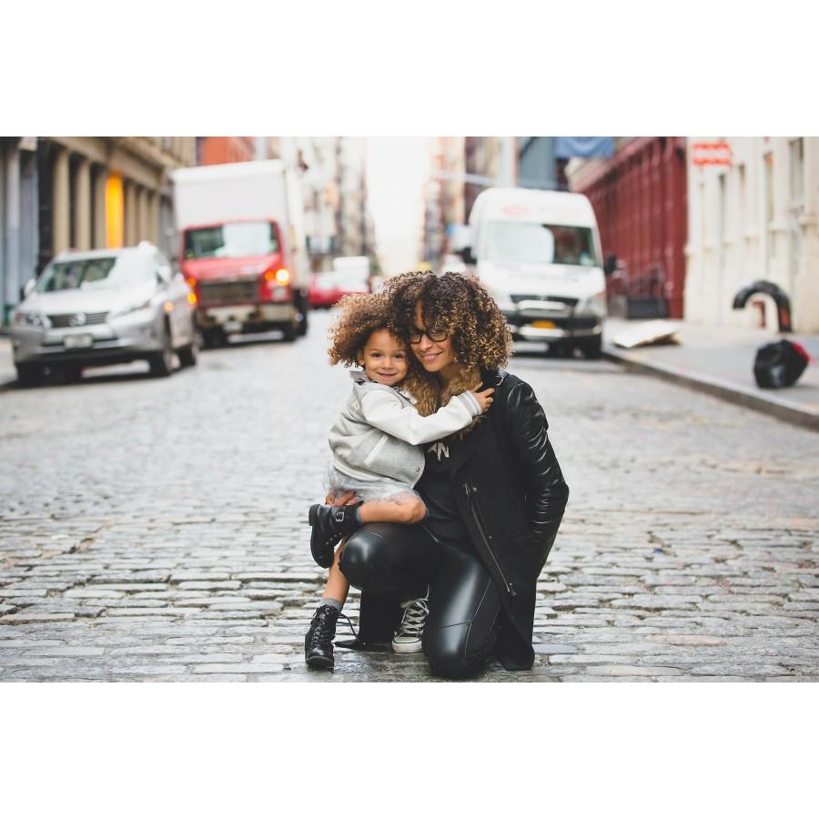 Girl and mom