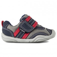 Pediped Grip 'n' Go™ Adrian Navy/Grey/Red (Toddler/Little/Big Boy Shoe)