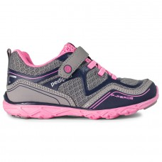 Pediped Flex® Force Silver/Navy Girls Running Shoes