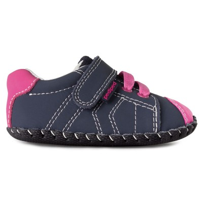 Pediped Originals® Jake Navy/Pink (Pre-Walker Baby/Toddler Girl) 0-6M, 6-12M, 12-18M, 18-24M