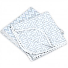 Receiving Blanket 2 Pack Blue Chevron / Blue Octagon