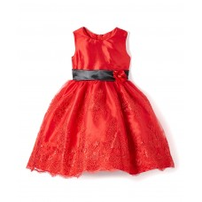 Red Floral Dress - Infant, Toddler & Girls