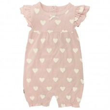 Soft N Cuddly Girl Romper Light Pink  (Preemie, 3M, 6M, 12M)