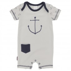 St Tropez Boy Romper Light Grey (Preemie, 3M, 6M, 12M)