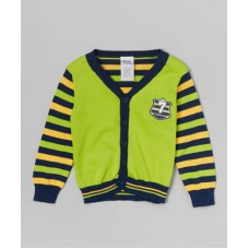 Toddler Boy Green and Yellow Stripe Cardigan 3T
