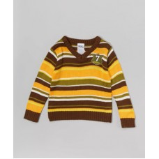 Toddler Boy Orange and Brown Stripe V-Neck Sweater 2T